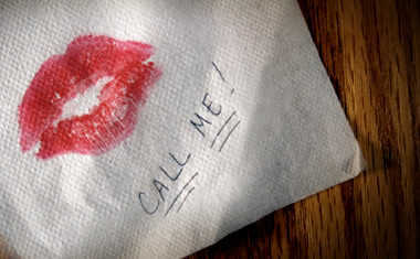 napkin with lipstick print