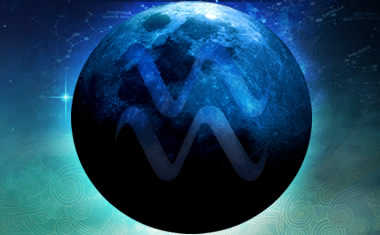 new moon with aquarius symbol