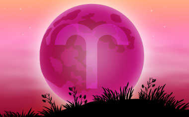 new moon with aries zodiac symbol