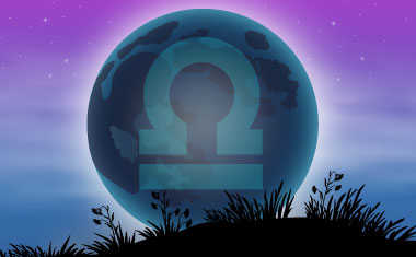 new moon with libra zodiac symbol