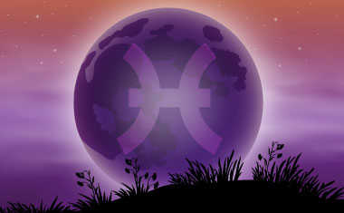 new moon with pisces zodiac symbol