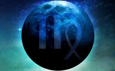 new moon with virgo zodiac symbol