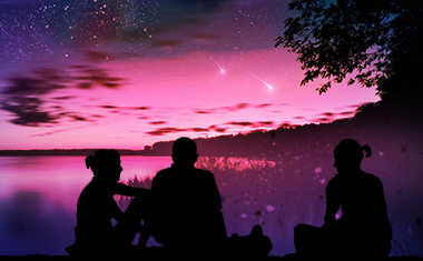 silhouetted people and purple sky