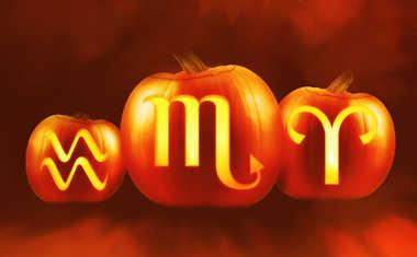 halloween pumpkins with zodiac symbols