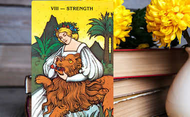strength card from morgan greer tarot deck