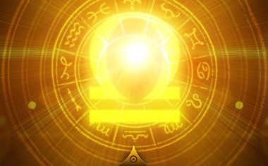 glowing libra zodiac symbol