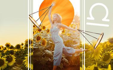 sun with libra zodiac symbol