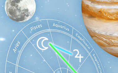 Planetary glyphs: Moon aspecting Jupiter and Venus Symbols in front of a Horoscope chart in space.