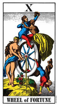 The Wheel of Fortune Tarot Card - Swiss (1JJ) Tarot Deck