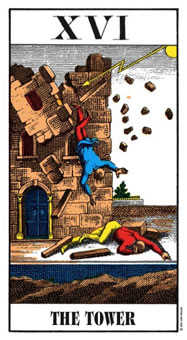 The Falling Tower Tarot Card - Swiss (1JJ) Tarot Deck
