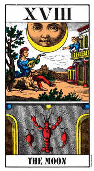 The Moon Tarot Card - Swiss (1JJ) Tarot Deck