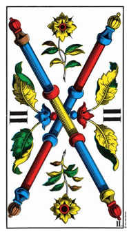 Two of Batons Tarot Card - Swiss (1JJ) Tarot Deck
