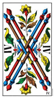 Four of Batons Tarot Card - Swiss (1JJ) Tarot Deck