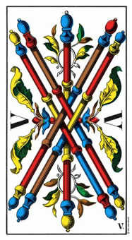 Five of Sceptres Tarot Card - Swiss (1JJ) Tarot Deck