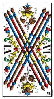 Six of Batons Tarot Card - Swiss (1JJ) Tarot Deck