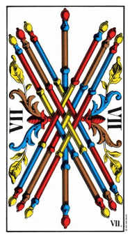 Seven of Rods Tarot Card - Swiss (1JJ) Tarot Deck