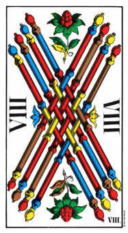 Eight of Staves Tarot Card - Swiss (1JJ) Tarot Deck