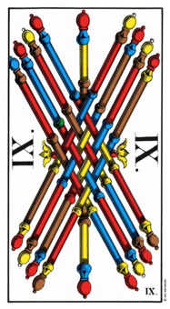 Nine of Batons Tarot Card - Swiss (1JJ) Tarot Deck
