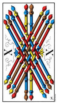 Ten of Batons Tarot Card - Swiss (1JJ) Tarot Deck