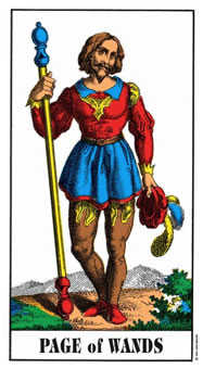 Slave of Sceptres Tarot Card - Swiss (1JJ) Tarot Deck