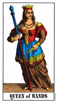 Queen of Rods Tarot Card - Swiss (1JJ) Tarot Deck