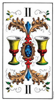Two of Hearts Tarot Card - Swiss (1JJ) Tarot Deck