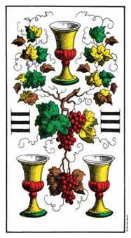 Three of Bowls Tarot Card - Swiss (1JJ) Tarot Deck
