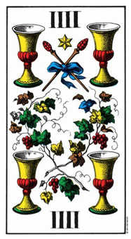 Four of Bowls Tarot Card - Swiss (1JJ) Tarot Deck