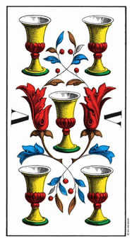Five of Bowls Tarot Card - Swiss (1JJ) Tarot Deck
