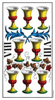 Eight of Cauldrons Tarot Card - Swiss (1JJ) Tarot Deck