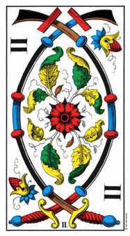 Two of Arrows Tarot Card - Swiss (1JJ) Tarot Deck