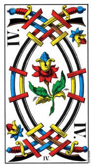 Four of Arrows Tarot Card - Swiss (1JJ) Tarot Deck