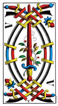 Five of Wind Tarot Card - Swiss (1JJ) Tarot Deck