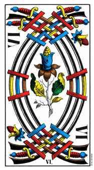 Six of Swords Tarot Card - Swiss (1JJ) Tarot Deck