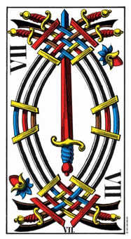 Seven of Arrows Tarot Card - Swiss (1JJ) Tarot Deck