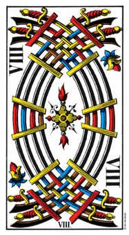 Eight of Swords Tarot Card - Swiss (1JJ) Tarot Deck
