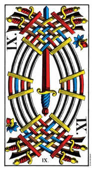 Nine of Arrows Tarot Card - Swiss (1JJ) Tarot Deck
