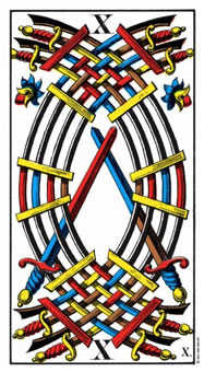 Ten of Arrows Tarot Card - Swiss (1JJ) Tarot Deck