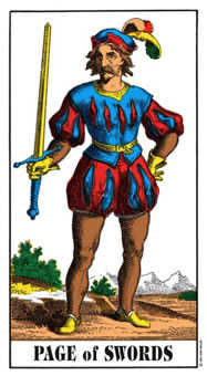 Page of Swords Tarot Card - Swiss (1JJ) Tarot Deck