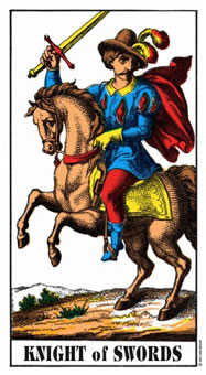 Cavalier of Swords Tarot Card - Swiss (1JJ) Tarot Deck