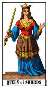 Queen of Swords Tarot Card - Swiss (1JJ) Tarot Deck
