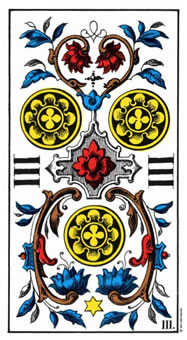 Three of Coins Tarot Card - Swiss (1JJ) Tarot Deck
