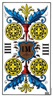 Four of Rings Tarot Card - Swiss (1JJ) Tarot Deck