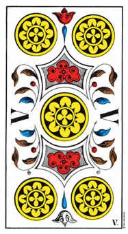 Five of Coins Tarot Card - Swiss (1JJ) Tarot Deck