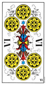 Six of Coins Tarot Card - Swiss (1JJ) Tarot Deck