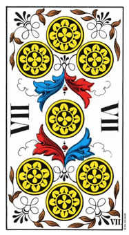 Seven of Coins Tarot Card - Swiss (1JJ) Tarot Deck