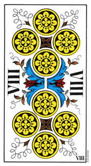 Eight of Coins Tarot Card - Swiss (1JJ) Tarot Deck