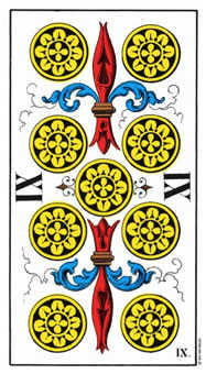 Nine of Coins Tarot Card - Swiss (1JJ) Tarot Deck