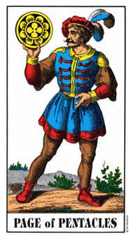 Slave of Pentacles Tarot Card - Swiss (1JJ) Tarot Deck