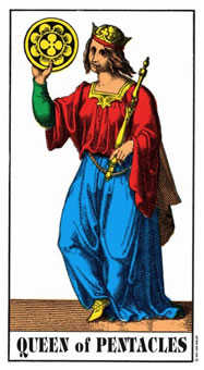 Queen of Coins Tarot Card - Swiss (1JJ) Tarot Deck